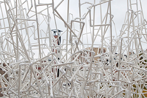 pvc tubing sculpture installed at Madison Museum of Contemporary Art, MMoCA, rooftop